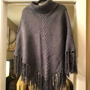 Cowl Neck Dark Grey Knit Poncho